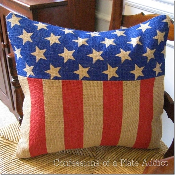 CONFESSIONS OF A PLATE ADDICT Stars and Stripes Burlap Pillow