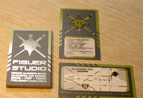 green geeky business cards