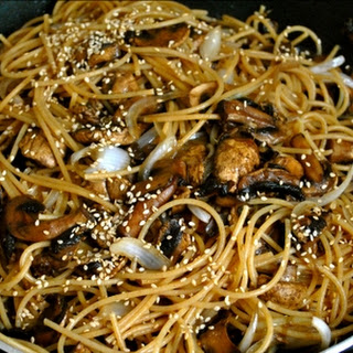 Whole Wheat Pasta Stir Fry with Mushrooms and Sesame.