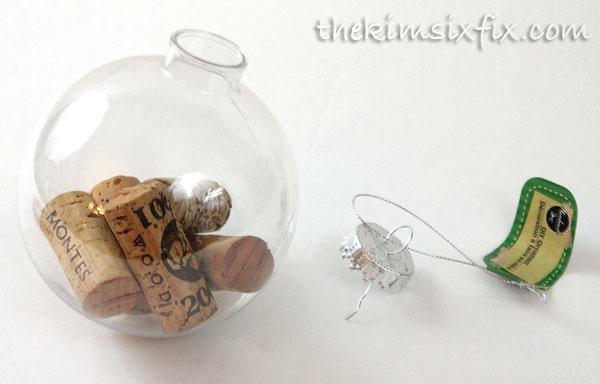Adding corks to ornaments