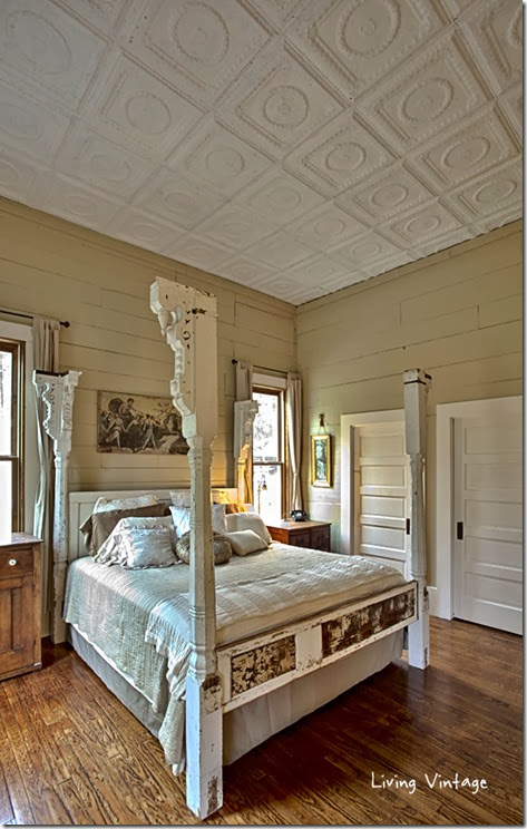 our-bed-made-with-porch-posts-old-doors-and-reclaimed-tin-plus-our-tin-ceiling-Living-Vintage