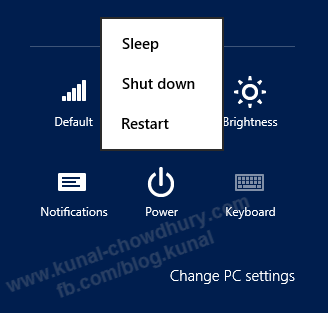 Windows 8 Power Menu without Hibernate Option