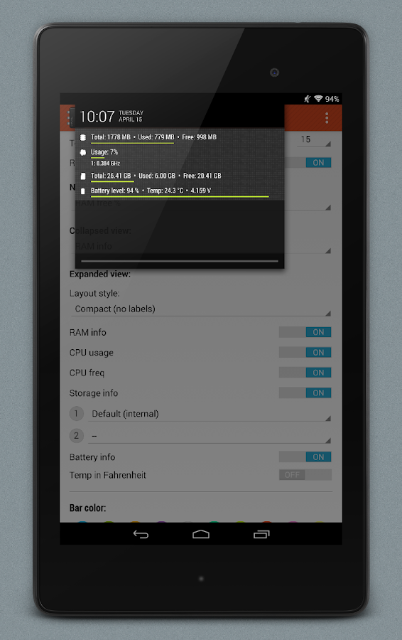 NotiSysinfo Pro - screenshot