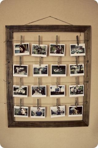 photos strung in empty frame