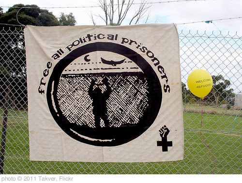 'Free all Political prisoners banner - Refugee Children in Immigration Detention Protest Broadmeadows' photo (c) 2011, Takver - license: http://creativecommons.org/licenses/by-sa/2.0/