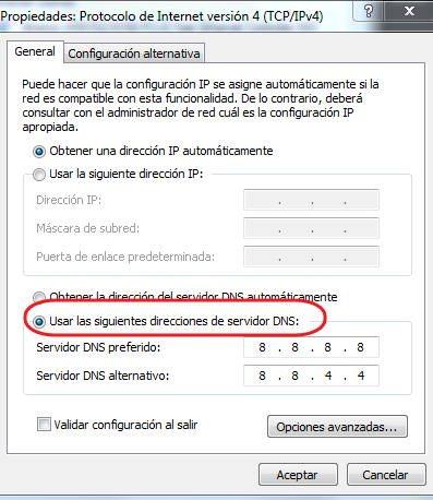 cambiar los servidores DNS