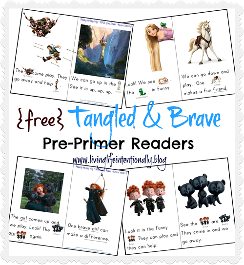 Disney - free Tangled & Brave Readers for Preschoolers #sightwords #preschool