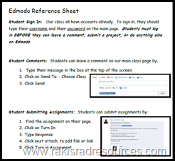 Edmodo Cheat Shet for Kids from Raki's Rad Resources