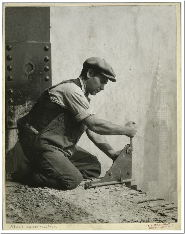 Worker-bolting-a-steel-support-1931