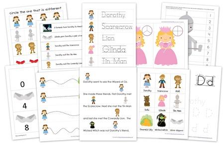 Wizard of Oz Preschool Pack ~ Free Printables!