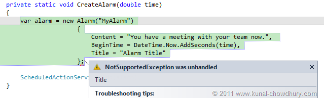 WP7.1 Demo - Setting Alarm Title throws NotSupportedException