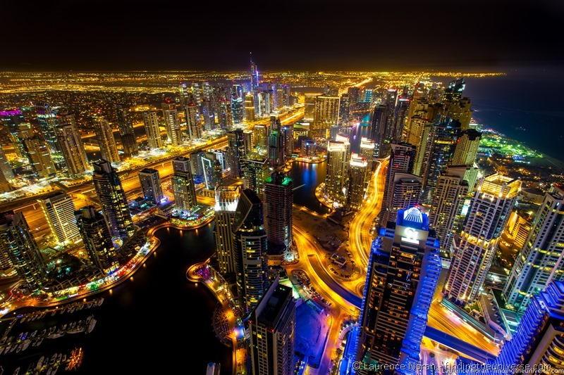 Dubai marina night skyline