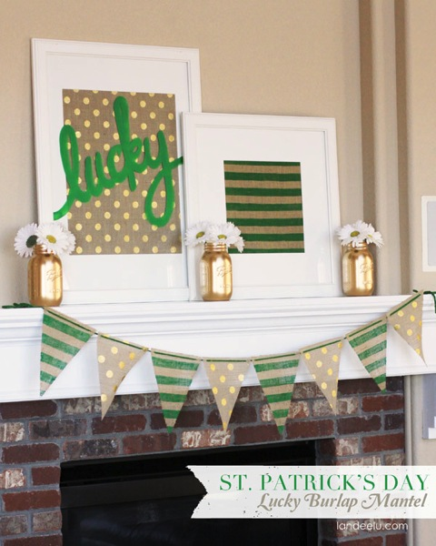 St Patricks Day Lucky Burlap Mantel