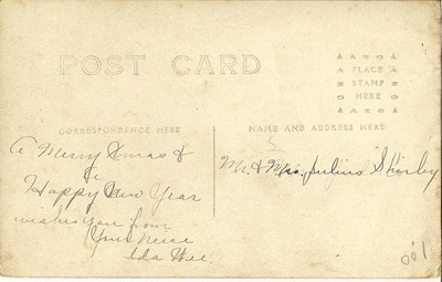Postcard Azo Triangles up Ada Wee your niece  ML Antiques Erhard back