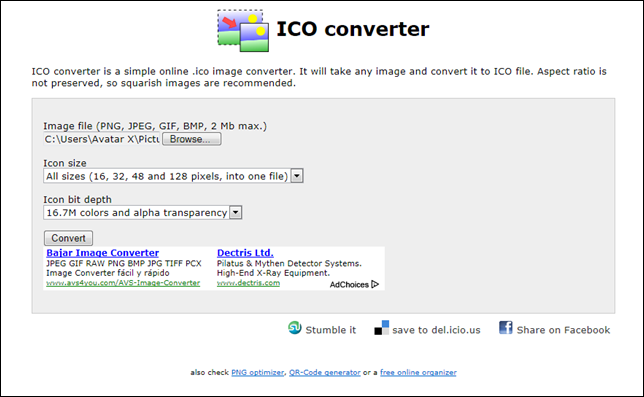Icoconverter.com screenshot
