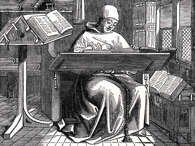 "Image title:  Scriptorium Monk at Work Source:  Blades, William: ""Pentateuch of Printing with a Chapter on Judges"" (1891)"