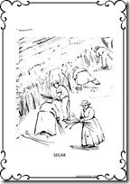 Colorear Dibujos De Campesinos Sembrar Segar Trillar Tostar