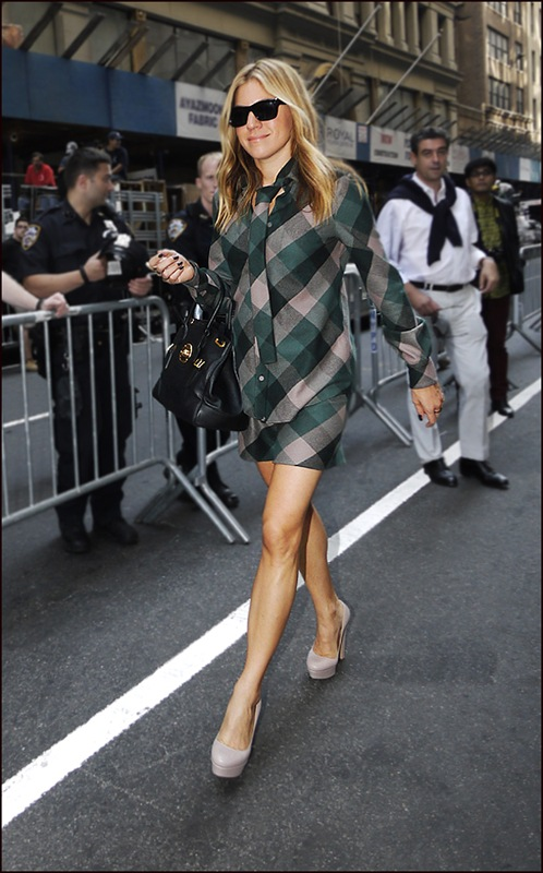 Dani Stahl green to grey plaid on plaid short skirt-shirt and tie putty platform pump heels 02 ol