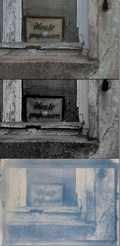 Schild verwittertem Fenster (heute geschlossen) - Drei Bilder Farbe - Schwarzweiß - Cyanotypie (Blaudruck)