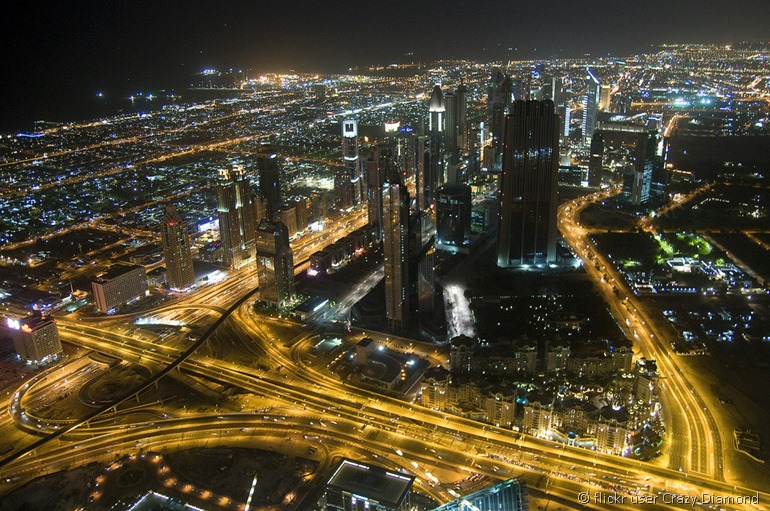 Dubai night scene by flickr user Crazy Diamond