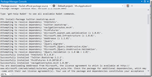 How to run twitter boot strap command in nuget package manager console