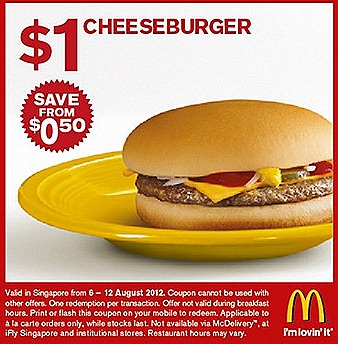 MCDONALDS $1 Cheeseburger beef $2 McChicken Burger Horlicks McFlurry dessert $1.50 Sausage McMuffin $2 Egg McMuffin promotion deal are valid McDonald' Singapore fast food restaurants tea coffee ice tea mlk shake soft drinks