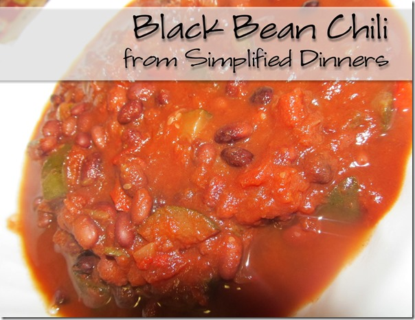 Simplified Dinners Black Bean Chili