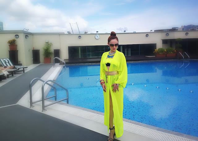Neon H&M Kimono & High-Waist Retro Bikini - Resort Waer