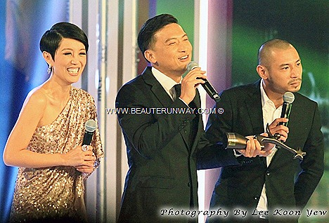 Starhub TVB Awards 2012 Winners Sunny Chan Kam Hung Hong Kong Actor My Favourite TVB Male TV Character Curse of the Royal Harem Emperor Do Kwong Xuan Xuan Empress  Singapore Marina Bay Sands Hotel ballroom Green Carpet