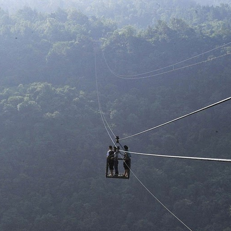 A Dangerous Ropeway in a Chinese Village