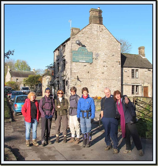 Starting from outside The Barn (Limestone Cottages) - Gaynor, Jill, Hilde, Jacqui, Sue, David, Sue