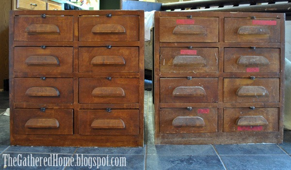 hardware cabinets before and after - Found: Vintage Hardware Store Cabinets - The Gathered Home