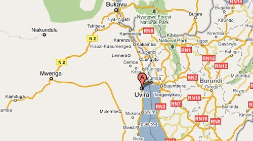Carte de Uvira au Sud Kivu