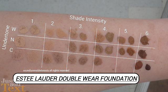 Estee Lauder Double Wear Foundation; (Stay in Place Makeup): Review & Swatches of Shades 1C0 Shell*. 1C1 Cool Bone. 1N1 Ivory Nude. 1W1 Bone. 1N2 Ecru. 1W2 Sand. 2C1 Pure Beige.  2N1 Desert Beige. 2W1 Dawn. 2C3 Fresco. 2W2 Rattan. 3C1 Dusk.  3N1 Ivory Beige. 3W1 Tawny. 3C2 Pebble. 3N2 Wheat.  3W2 Cashew. 4C3 Soft Tan. 4N1 Shell Beige. 4W1 Honey Bronze. 4N2 Spiced Sand. 4W2 Toasty Toffee. 5C1 Rich Chestnut*. 5N1 Rich Ginger. 5W1 Bronze. 5W2 Rich Caramel. 6C1 Rich Cocoa. 6N1 Truffle. 6W1 Sandalwood. 6C2 Rich Mahogany