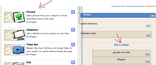Add picture in blogger
