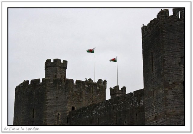 The Flag of Cymru Flies High Over Caernarfon Castle