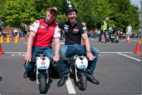 Shakey 'nicks' John McGuinness on their Mini Moto's !!