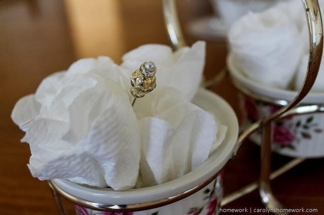 Bridal Shower Decor with bathroom tissue flowers via homework | carolynshomework.com