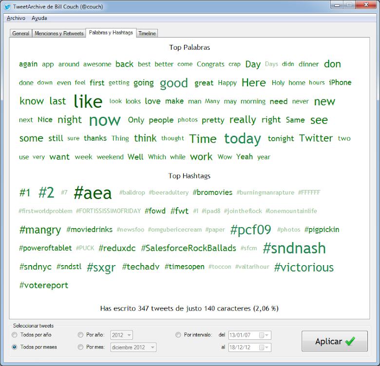 Pestaña Palabras y Hashtags