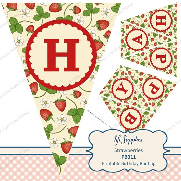 PB011 etsy 2 strawberry printable birthday bunting banner