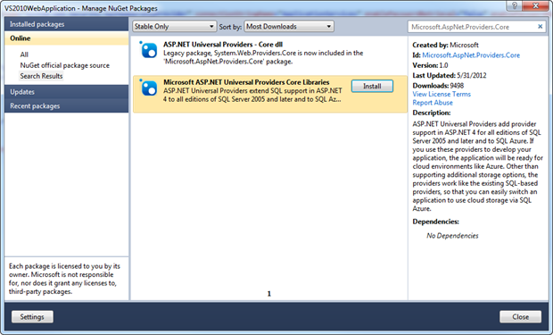 Taking Microsoft.AspNet.Providers.Core from NuGet in Visual Studio 2010
