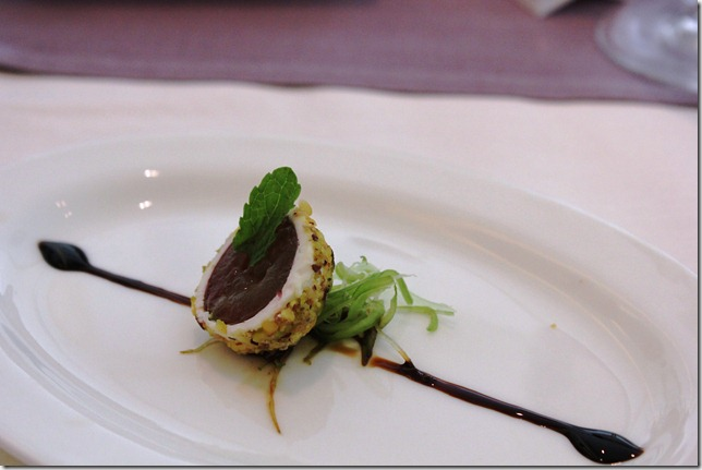 grape and goat cheese amuse bouche