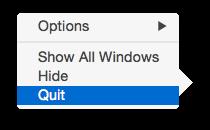Yosemite Quit in Mac OS Dock