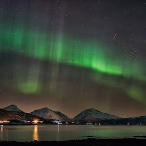 North by Rune Nilssen - Landscapes Starscapes ( northlight, moutnains, entax.k3, blue, stars, snow, aurora, aurora borealis, trails )