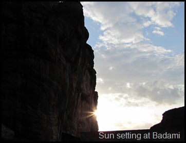 Sun setting at Badami