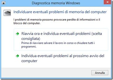 Diagnostica memoria Windows