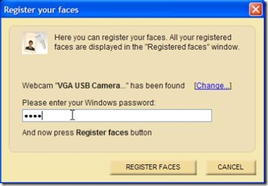Rohos Face Logon Freeware impostare la webcam