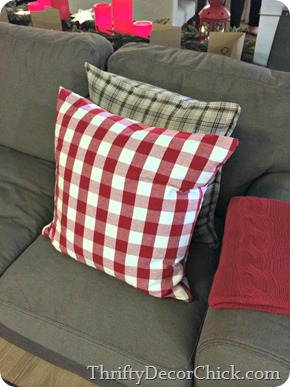 red white check pillow