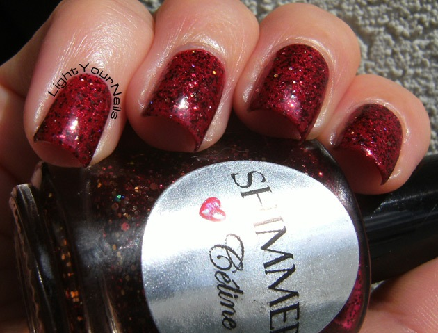 Shimmer Polish Celine over Astra holo red