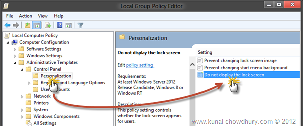 Navigate to Personalization Settings in Group Policy Editor